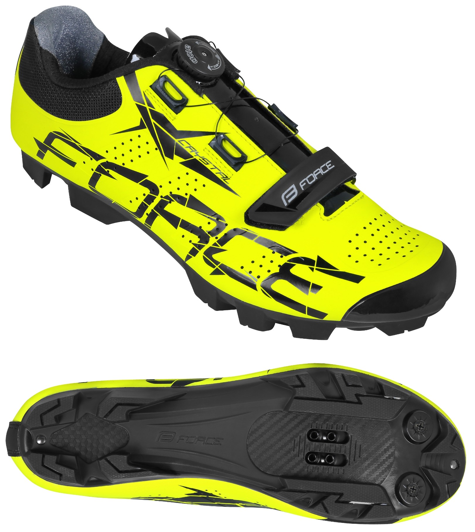 Tretry FORCE MTB CRYSTAL, fluo
